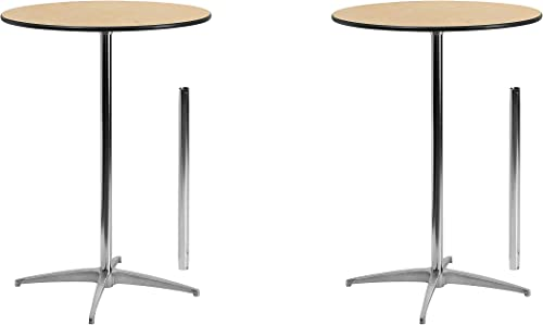 Flash Furniture 36 Round Wood Cocktail Table with 30 and 42 Columns Set of 2 30 inches