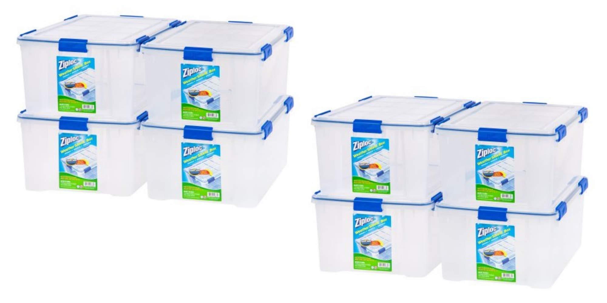 Ziploc 60 Qt./15 Gal. WeatherShield Storage Box, Clear- 8 Box