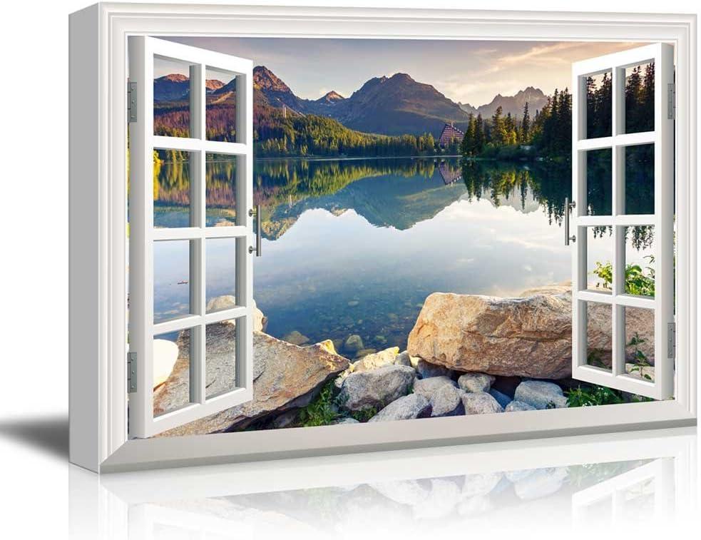 "wall26 - Creative Window View Canvas Prints Wall Art - Peaceful Lake in Autumn - 24"" x 36"""