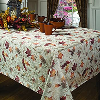 Benson Mills Natures Leaves Jacquard Printed Fabric Tablecloth, 60-Inch-by-120 Inch