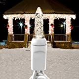 7.5ft Icicle Stringer - 70 LED Mini Lights - WARM WHITE - 15 Icicle Drops - White Wire - Commercial Duty - 40 Set Max Connections