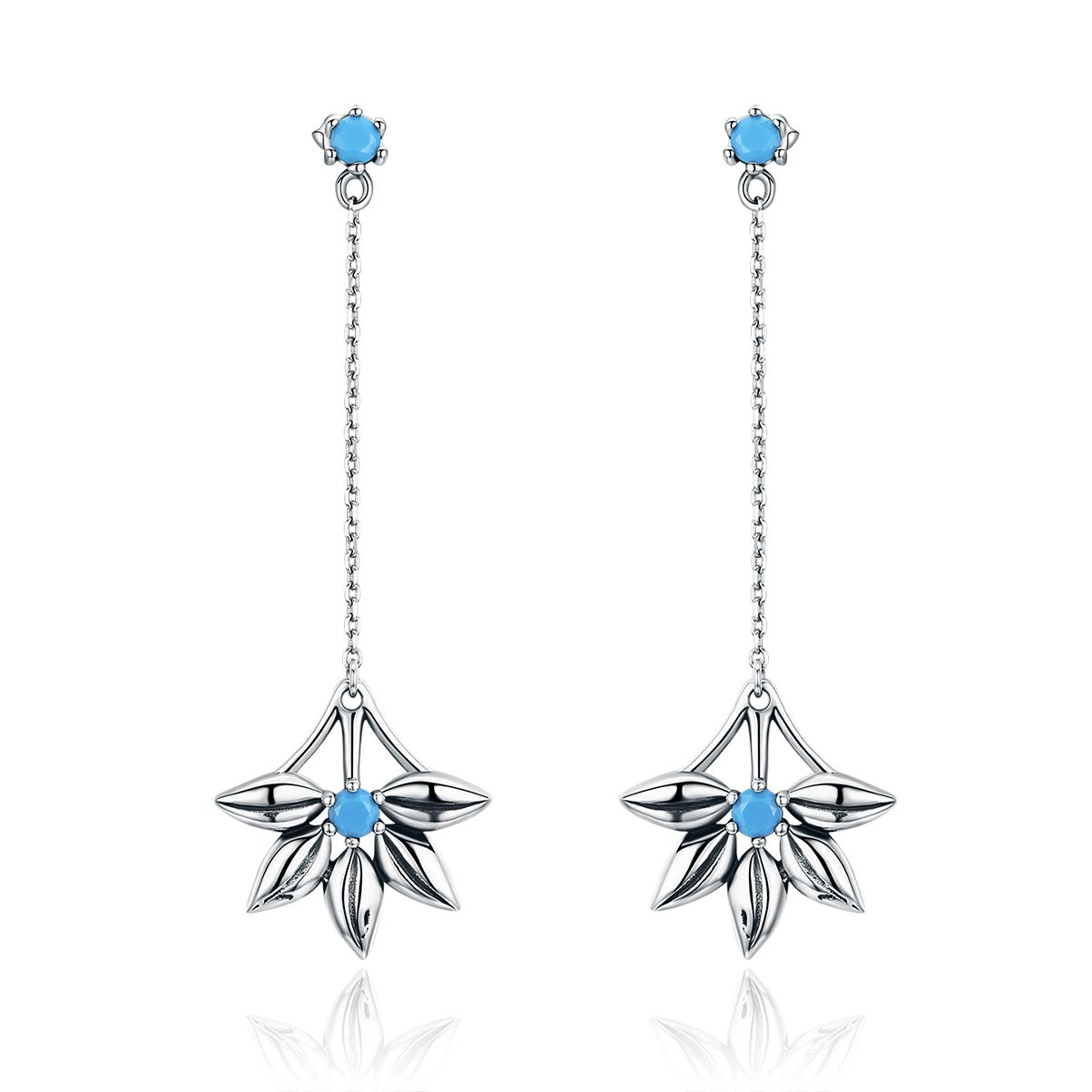 The Kiss Daisy Flower Long Tassel 925 Sterling Silver Dangle Earrings