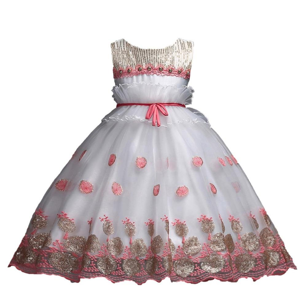 Elevin(TM) Pageant Party Wedding Long Dress Flower Girl Kid Lace Princess Evening Gown 0-10T (8T, A Pink)