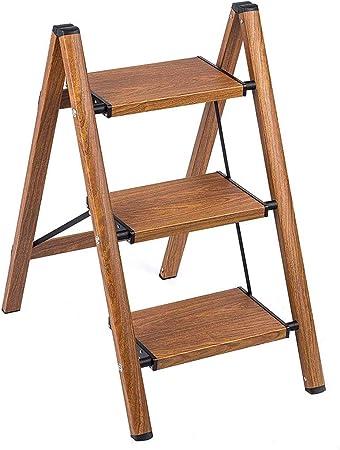 Aluminio Woodgrain Escalera de 4 escalones Taburete de escalera plegable Escaleras de mano Escalera para casa y cocina Escalera antideslizante Capacidad de pedal robusta y amplia Ahorro de espacio: Amazon.es: Hogar