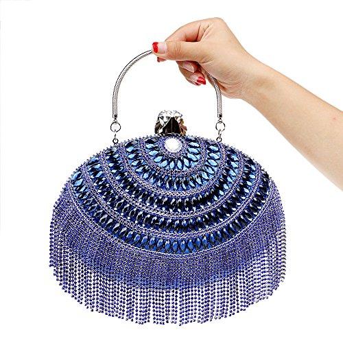 Blue Mariage Soirée Glitter Party Sac Pochette Clubs Sac Sac Nuptiale Cadeau À Femmes Main Dames Prom Ovale Main À Diamante Gland De Pour Épaule TgIq5