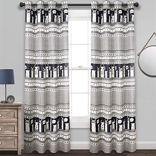 "(Lush Decor Llama Stripe Curtains Pattern Room Darkening Window Panel Set for Living, Dining, Bedroom (Pair) 84"" x 52"" Navy)"
