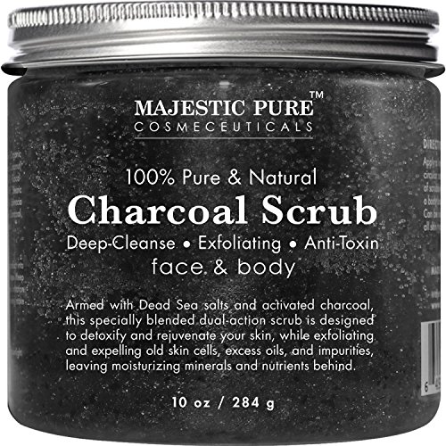 Majestic Pure Activated Charcoal Body and Facial Scrub, Natural Skin Care, Face Cleanser - Promotes Skin Whitening, Reduces Acne Scars, Blackheads and Helps Improve Complexion - 10 Oz