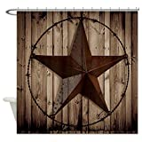 EZON-CH Customize Extral Long Large Waterproof Western Texas Star On Brown Wood Barn Print Polyester Fabric Home Hotel Apartment Bathroom Shower Curtain 72x78IN