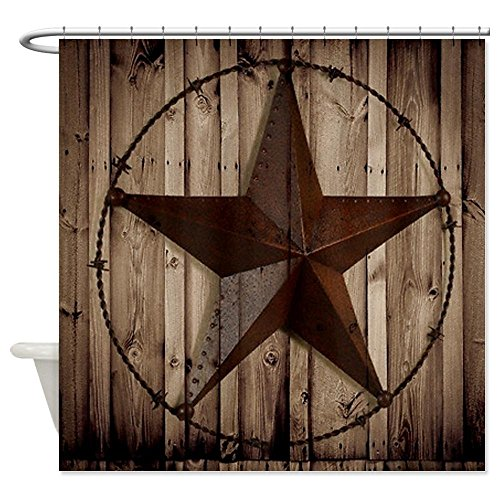 EZON-CH Customize Extral Long Large Waterproof Western Texas Star On Brown Wood Barn Print Polyester Fabric Home Hotel Apartment Bathroom Shower Curtain 72x84IN