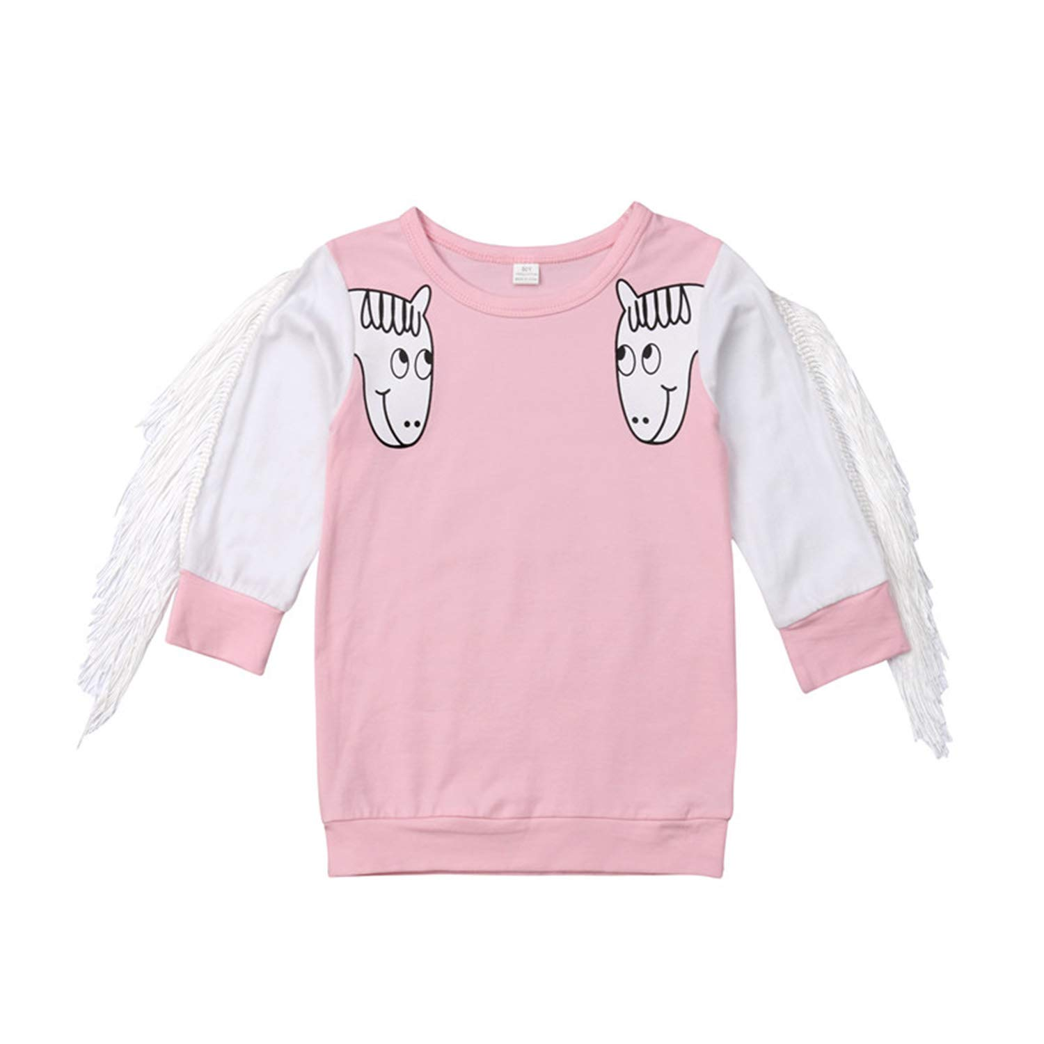 5216d9fac Amazon.com: freedomer Kids Baby Girls Clothes Animal Print Round Neck  Tassel Long Sleeve Casual Toddler Lovely Cotton Party Mini Dresses one  Pieces(12M ...