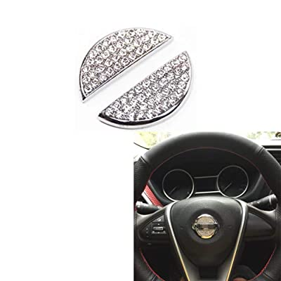 MAXDOOL Car Interior Bling Accessories for Nissan Steering Wheel Sign Logo 3D Rhinestone Decals Cover Sticker: Automotive