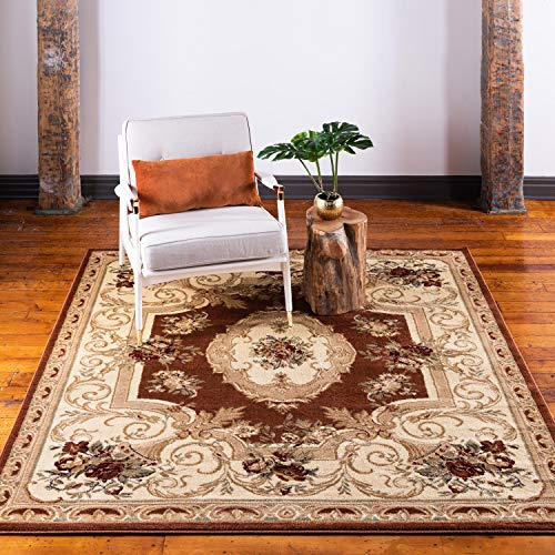 Unique Loom Versailles Collection Traditional Classic Brick Red Square Rug (6' x 6')