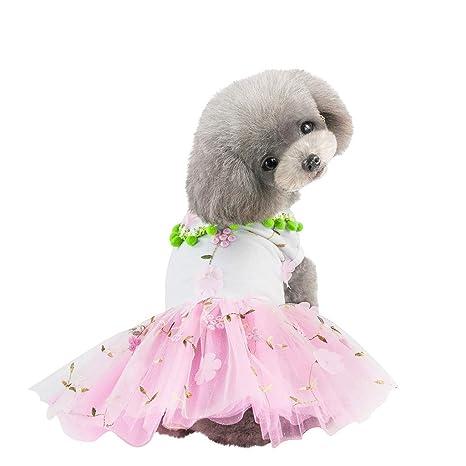Hawkimin - Vestido refrescante para Mascotas en Verano, con Bordado de Encaje, Falda de