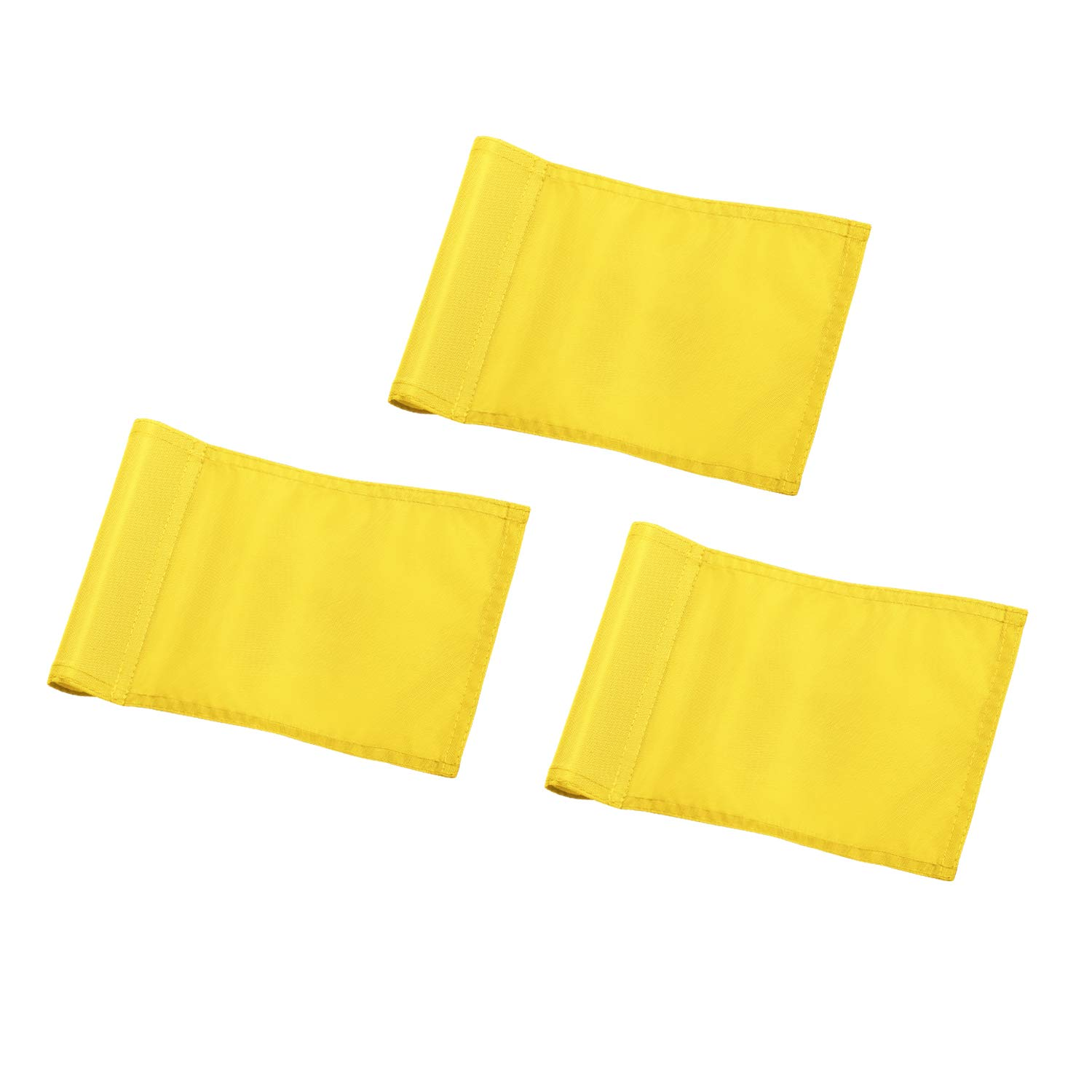 KINGTOP Solid Golf Flag with Plastic Insert, Putting Green Flags for Yard, Indoor/Outdoor, Garden Pin Flags, 420D Premium Nylon Flag, 8'' L x 6'' H, Yellow, 3-Pack by KINGTOP