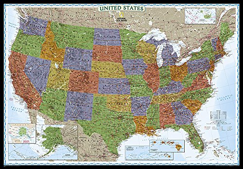 National Geographic: United States Decorator Enlarged Wall Map - Laminated (69.25 x 48 inches) (National Geographic Reference Map) (Framed Us Map)