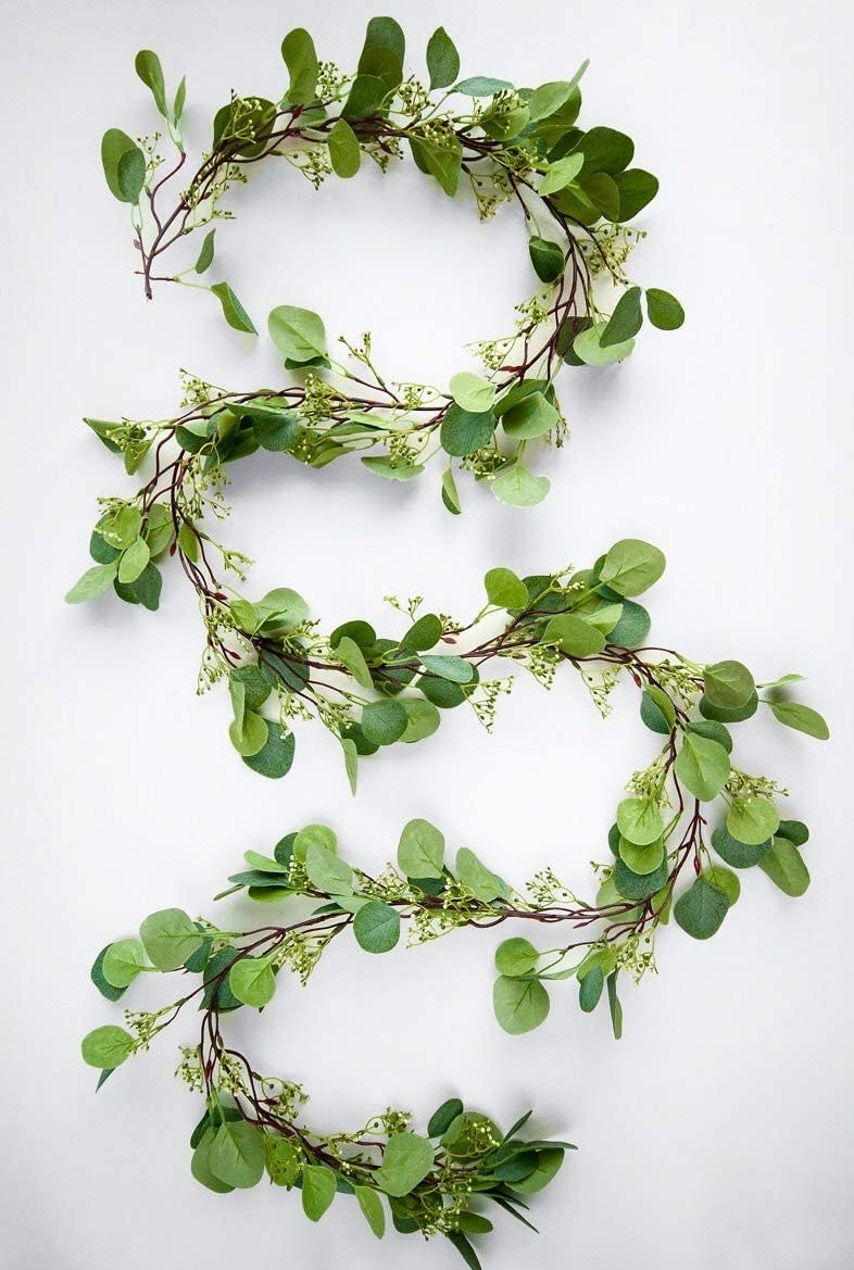 touche verde Extra Long 8Ft Seeded Artificial Eucalyptus Garland| Silk Eucalyptus Leaves | Charming Faux Vine for Room Decor and Wedding Decor | Greenery Backdrop Arch and Wall Decor