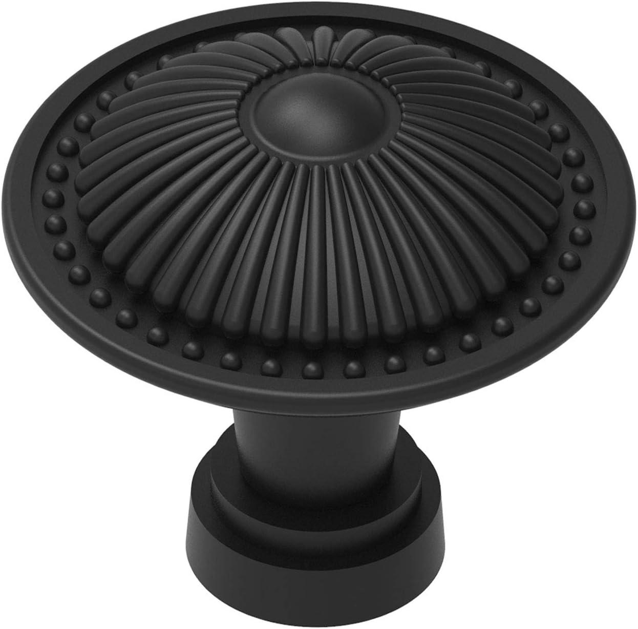 15-Pack Flat Black Pull Knobs for Kitchen Bedroom Cabinet, Round Black Dresser Handle Vintage Drawer Hardware for Wood Closet Furniture Door Decoration with Victorian Flower