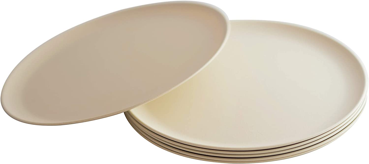 Natura Green- Bamboo Plates- Set of 6- 10 inches (Ivory White)