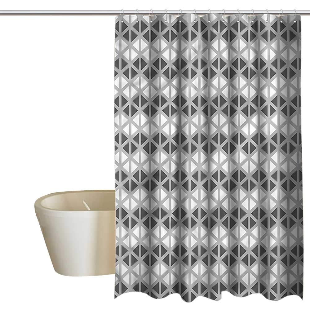 Denruny Shower Curtains for Bathroom with Liner Grey,Triangle Polygonal Pattern,W48 x L84,Shower Curtain for Shower stall