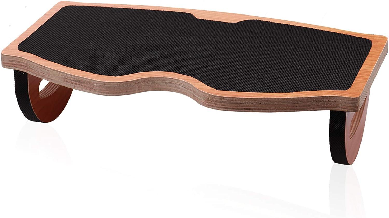 LEQUDUO Wooden Rocking Footrest Under Desk, Office Desk Foot Rest Adjustable Rocking Foot Nursing Stool, Rocker Balance Board, Rubber Anti-Slip, Pressure Relief for Posture Support, Home, Office Use