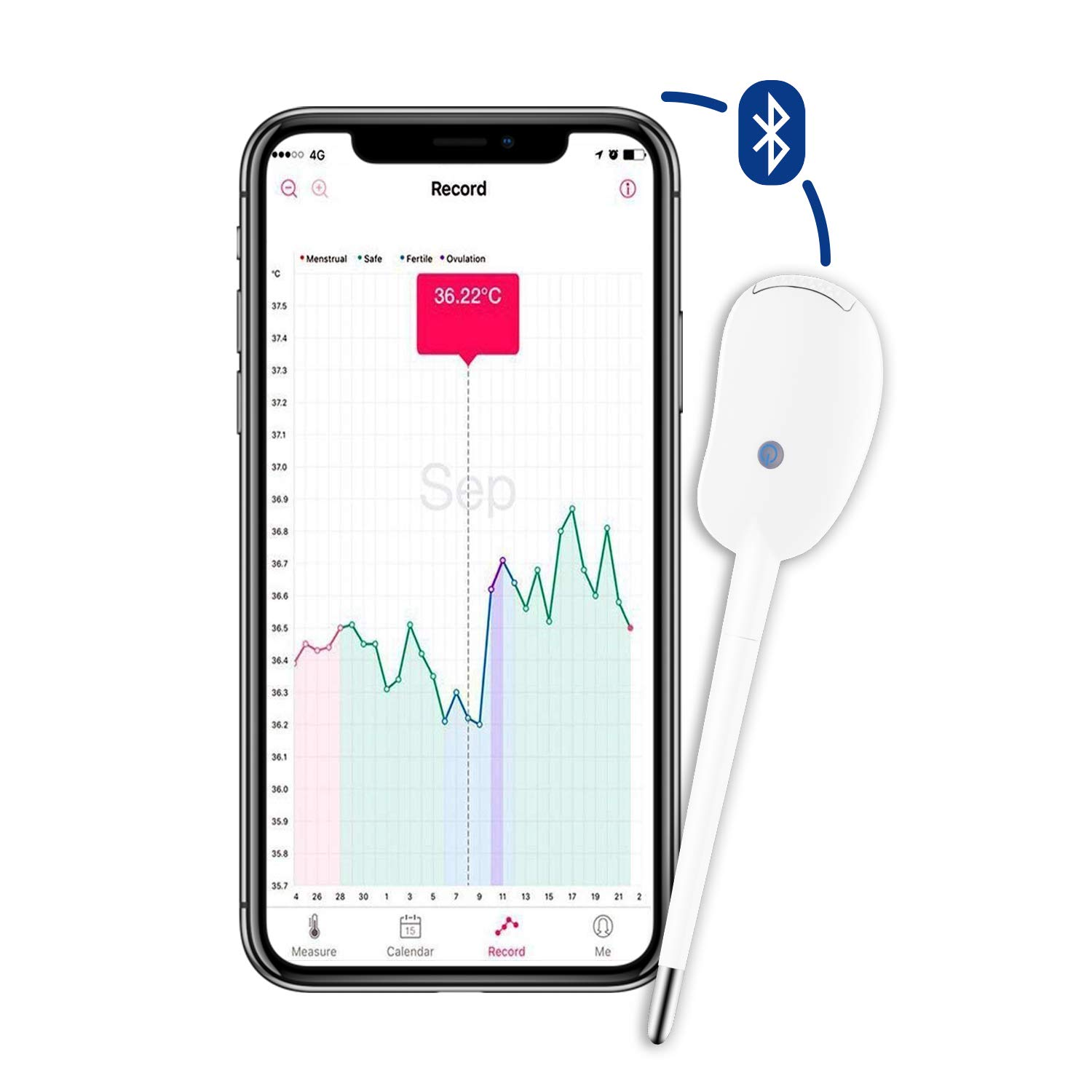 Smart Period Tracker Fertility Monitor, Basal Body Temperature Thermometer (BBT) Accurate Ovulation Prediction, Bluetooth Oral Basal Thermometer for Apple and Android ... by HealthTree