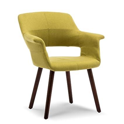 Amazon Com Belleze Dining Chair Accent Mid Century Style Linen