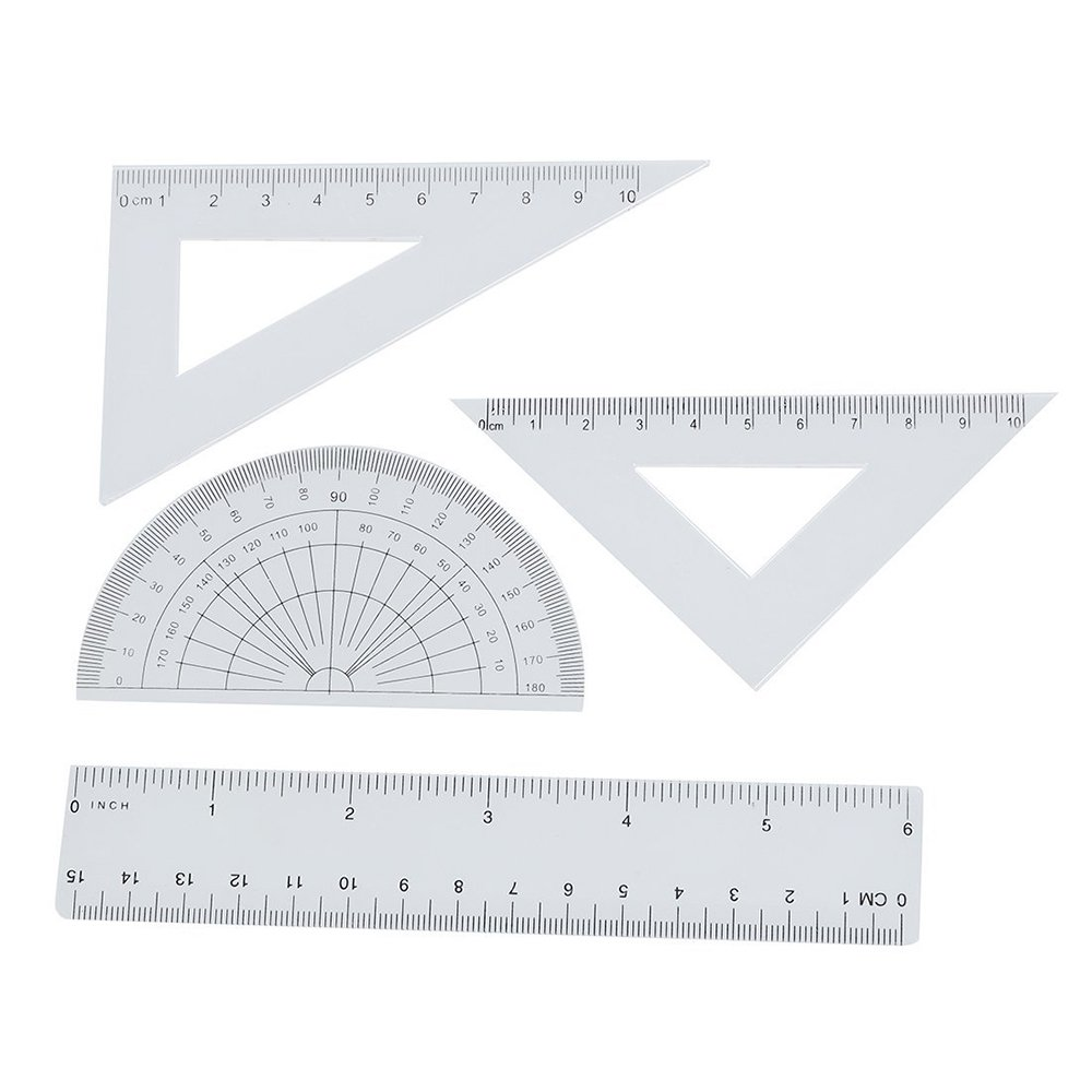 Nacpy Students Plastic Ruler Sets Maths Geometry Set Tool Stationery Squares Protractor Protractor Triangle 4 Pieces Clear