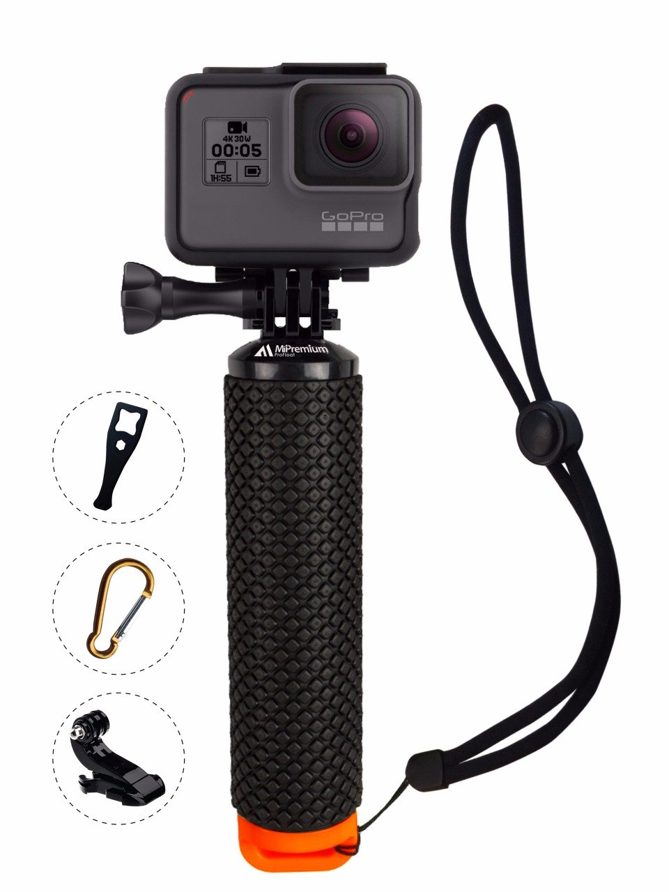 Waterproof Floating Hand Grip Compatible with GoPro Cameras Hero 5 Session Black Silver Hero 2 3 3+ 4. Handler & Handle Mount Accessories Kit & Water for Water Sport and Action Cameras (Orange)