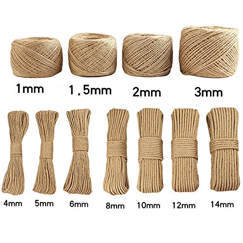 Zehui Handmade Jute Rope DIY Vintage Rope Decoration: 2mm Rope 100 Meters 1 Volumes of Yellow Soil