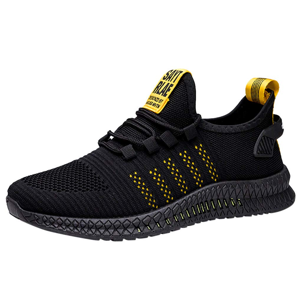 ZOMUSAR Fashion Men's Basic Spring Autumn Shoes Mesh Breathable Wearable Outdoor Lightweight Sports Shoes Yellow by ZOMUSAR