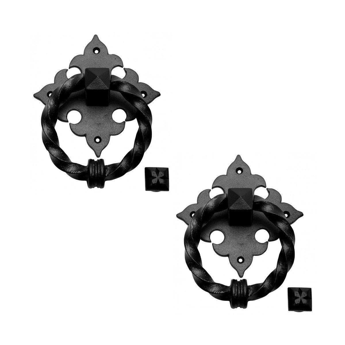 Renovator's Supply Black Door Knocker for Front Door Cast Iron Twisted Ring Ornate Plate 7 Inch H 5.5 Inch W Set of 2