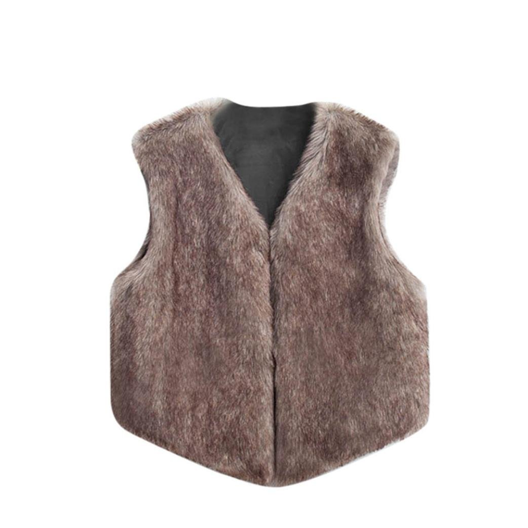 HOMEBABY Girl Faux Fur Gilets, Kids Winter Warm Baby Clothes Girls Sleeveless Jacket Winter Waistcoat Vest Coat Fluffy Thick Coat Outwear For 4-10 Years