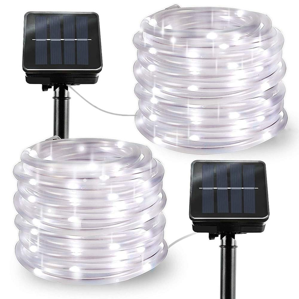 Solar String Lights Outdoor Rope Lights, 2 Pack 8 Modes 100 LED Solar Powered Outdoor Waterproof Tube Light Copper Wire Fairy Lights for Garden Fence Patio Yard Summer Party Wedding Decor (Cool White)