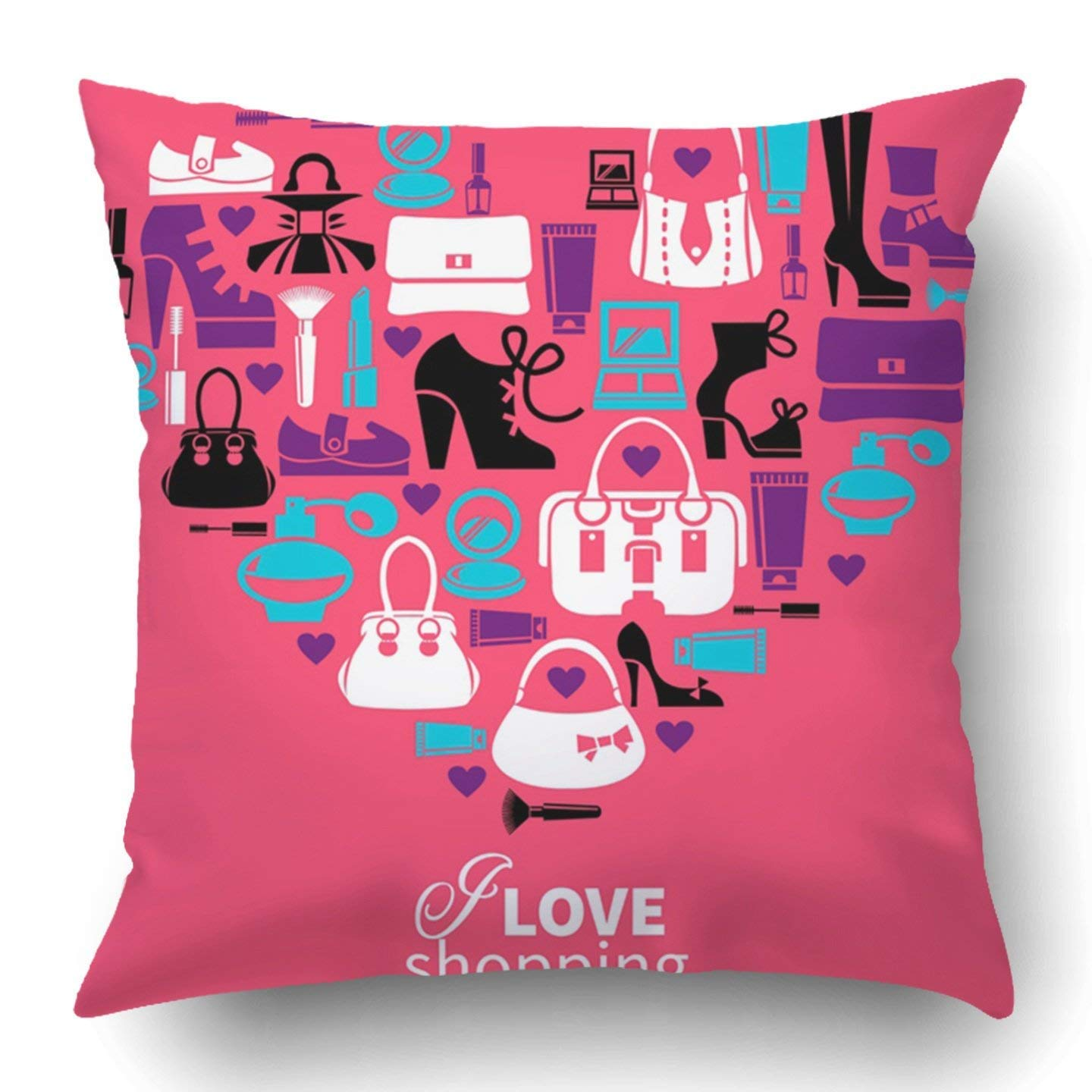 Throw Pillow Covers Makeup Shopping Love Heart Women s Accessories  Silhouette Brush Graphic Care Perfume Sale Polyester 18 X 18 inch Square  Hidden Zipper ... f44f8f1fb0