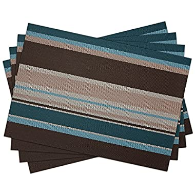 SiCoHome Vinyl Placemats Set of 4,Striped Blue Woven Kitchen Placemat for Dining Table Heat Insulation Stain-resistant