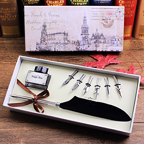 Quill Pen,Luxury Quill Pen and Ink Set (Silver) by UE Fashion (Image #7)