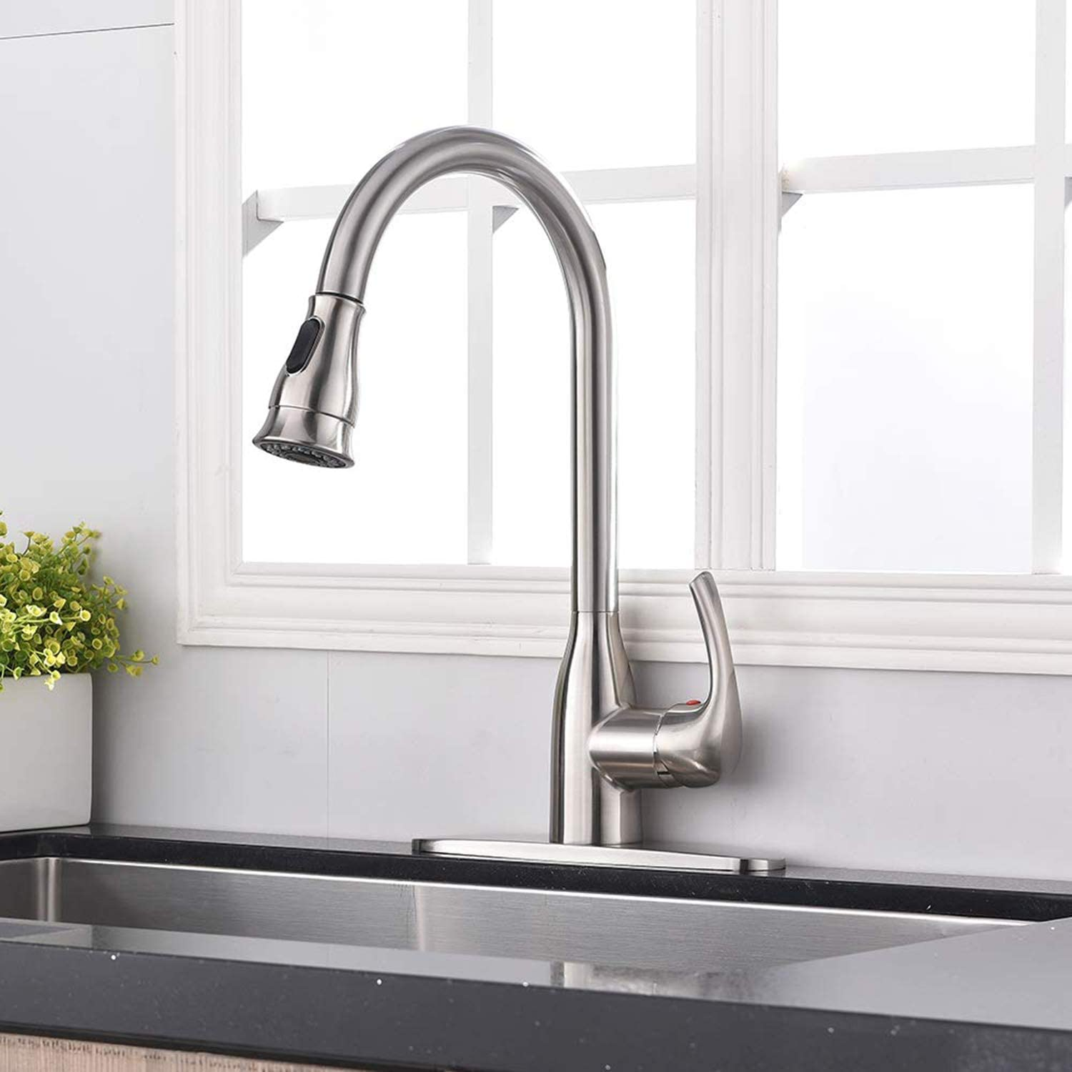 Hotis Commercial Pull Out Single Handle Stainless Steel Pull Down Sprayer  Kitchen Sink Faucet, Brushed Nickel Kitchen Faucet with Escutcheon