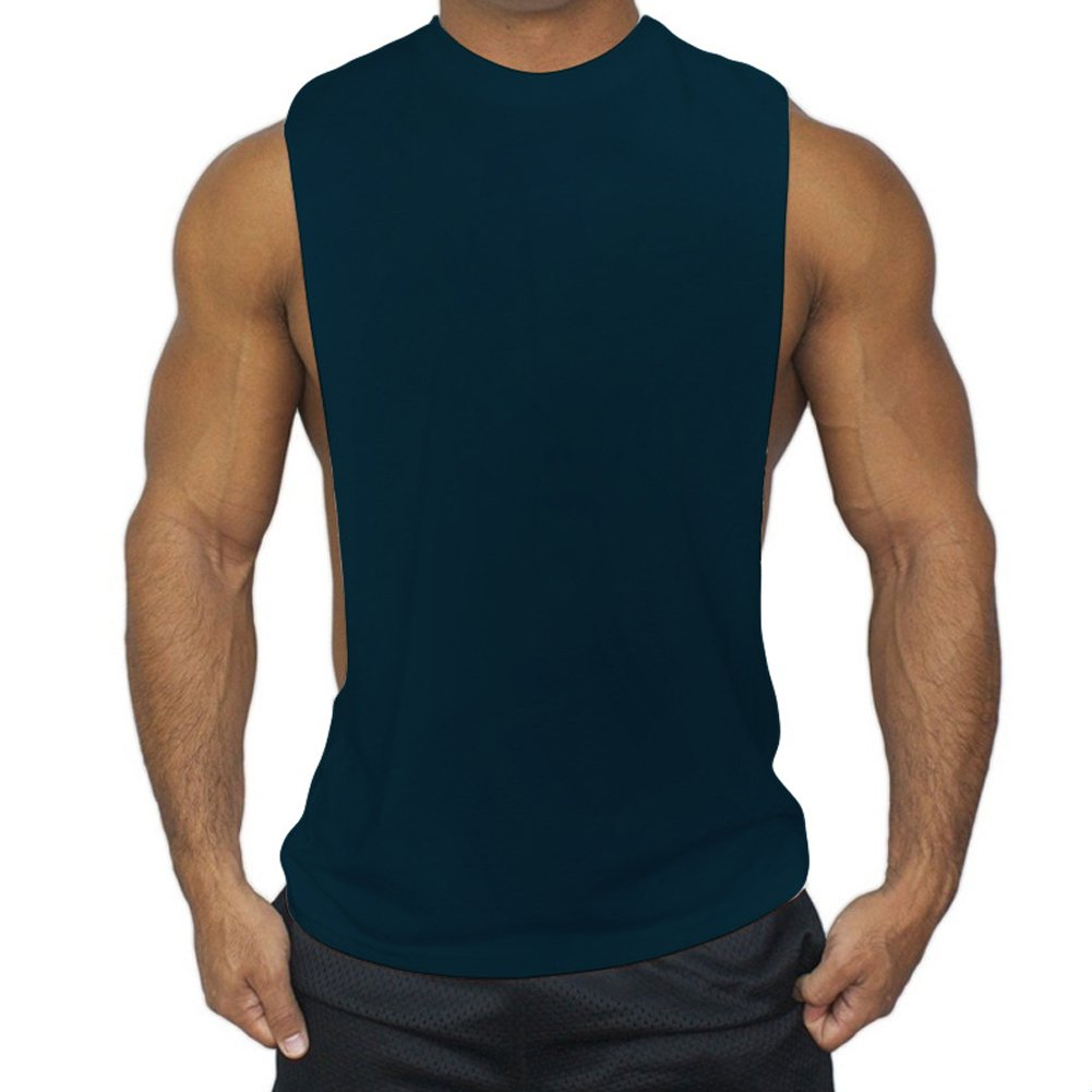 ZUEVI Men's Muscular Cut Open Sides Bodybuilding Tank Top(Navy-M-S)