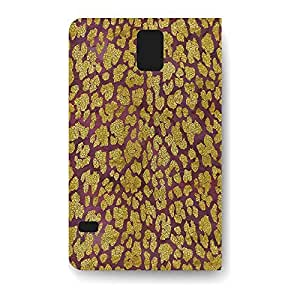 Leather Folio Phone Case For Samsung Galaxy S5 Leather Folio - Gold Glam Leopard PU Leather Lightweight