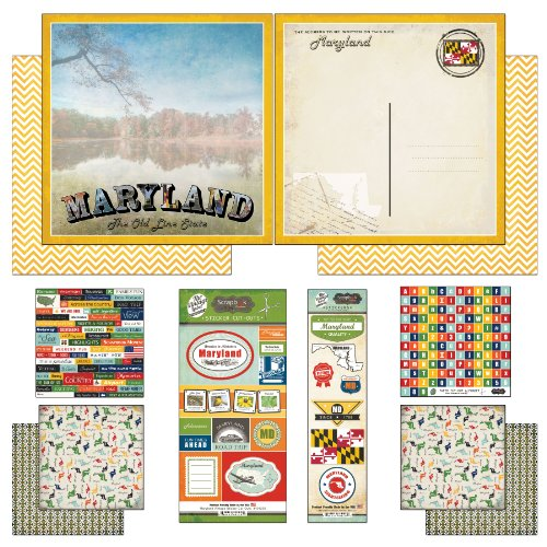 (Scrapbook Customs Themed Paper and Stickers Scrapbook Kit, Maryland Vintage)