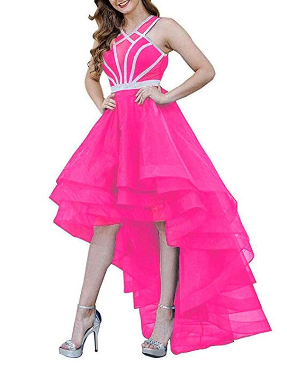 Hot Pink alilith.Z Beaded Homecoming Dresses 2018 High Low Sexy Halter Long Formal Prom Dresses Party Gowns for Women