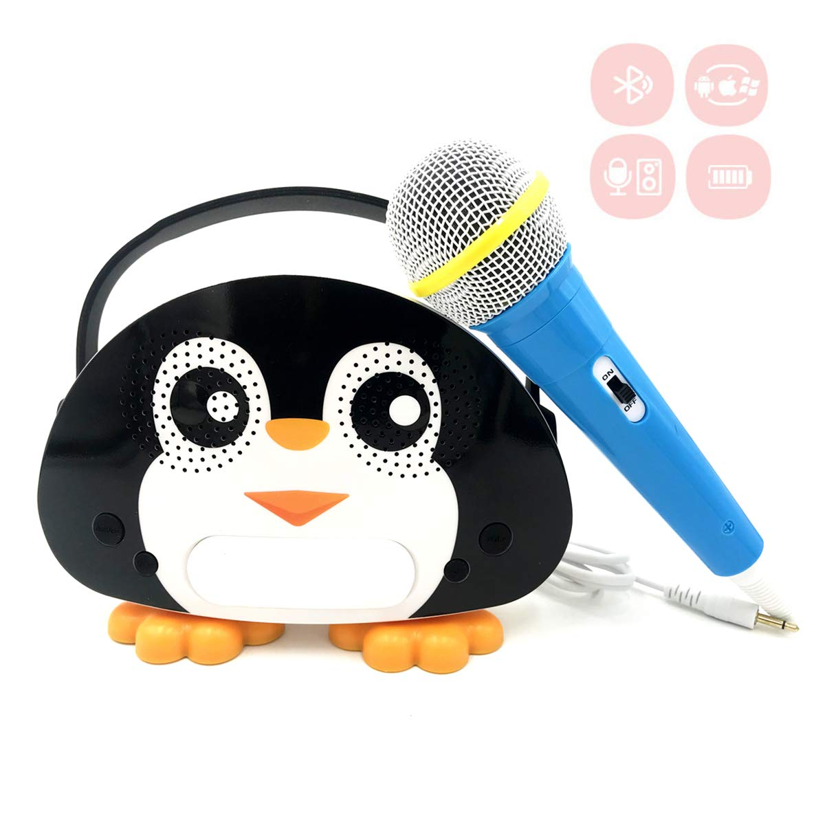 Kids Bluetooth Karaoke Machine with Microphone, Rechargeable Children's Wireless Loudspeaker Portable Cartoon Karaoke Music MP3 Player Toy with Microphone for Party Gift (Black) by OceanEC (Image #1)