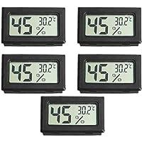 Medidor de temperatura e umidade, 5pcs Mini LCD digital sem fio higrômetro