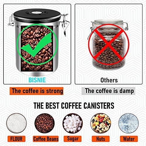 Kaffeedosen Luftdicht 1kg Bohnen, 2800ML Kaffeebohnen behälterKaffeebehälterVorratsdosen aus Edelstahlmit Datums-Tracker, 30ML Messschaufel undCO₂-Ventil für KaffeeKaffeebohne Pulver, Zucker, Tee