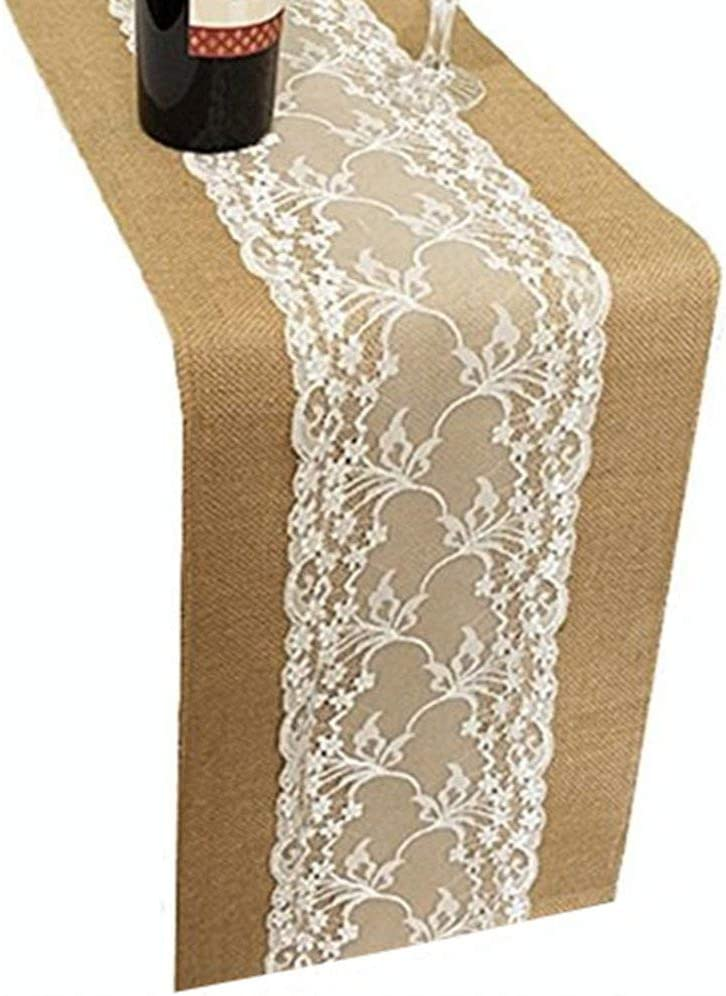 OZXCHIXU TM 15X108 Burlap Lace Hessian Table Runner Rustic Natural Jute Country Wedding Party Dining Table Decoration Farmhouse Decor (Style4-15X108 inch)