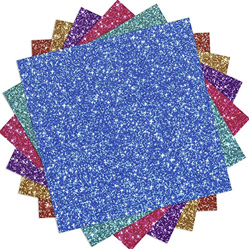 (Outus 6 Sheets Glitter Vinyl Heat Transfer Vinyl for Clothes, T-Shirt, Craft DIY, Assorted Colors)