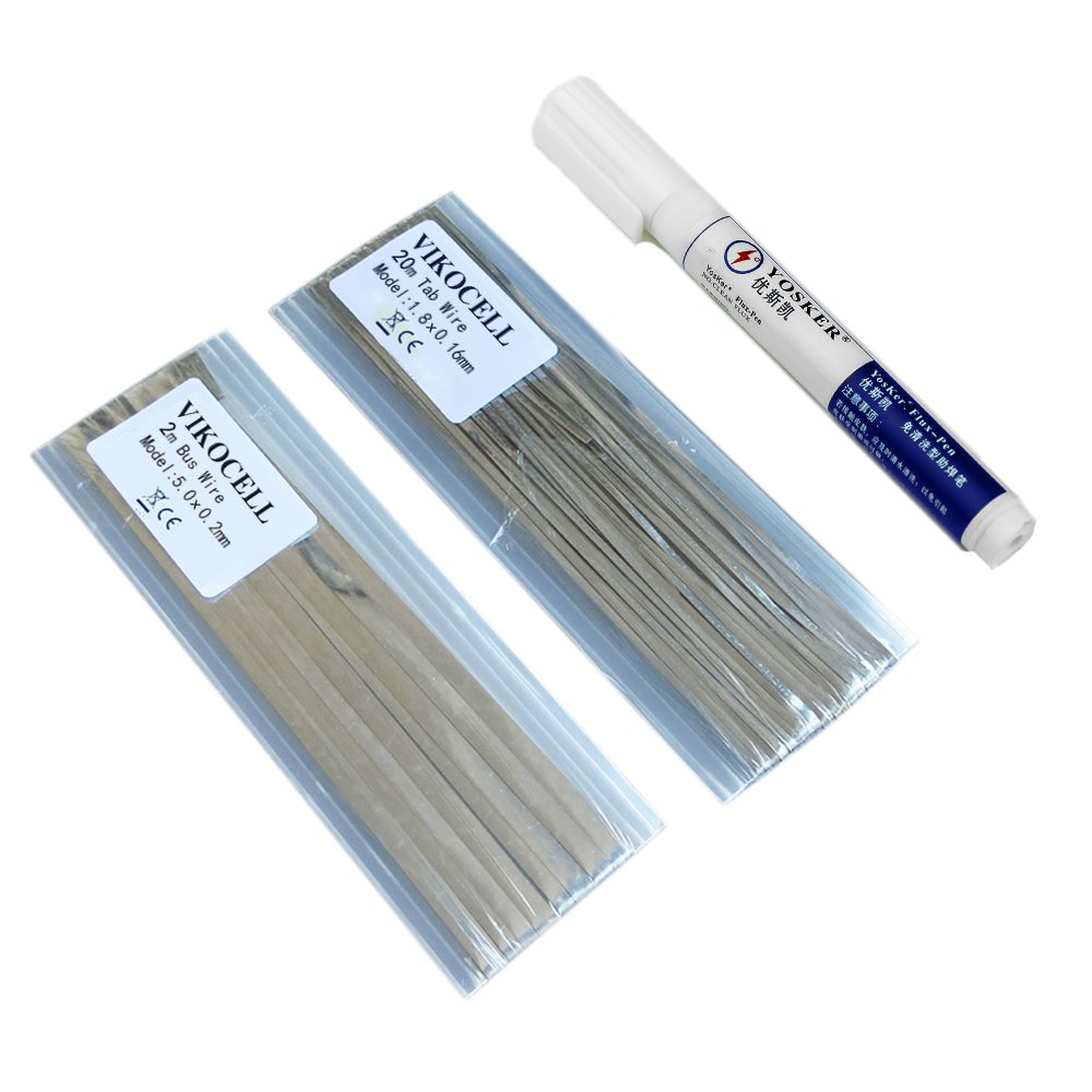 Vikocell Solar Panel Solder Kit 20M Tabbing Wire with 2M Busbar Wire and 1 Pcs Flux Pen for DIY Solar Cells Soldering