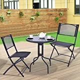 New MTN-G 3 Pcs Bistro Set Garden Backyard Table Folding Chairs Outdoor Patio Furniture
