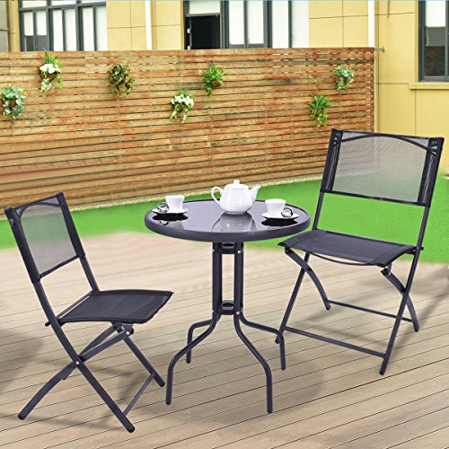 MTN-G 3 Pcs Bistro Set Garden Backyard Table Folding Chai...