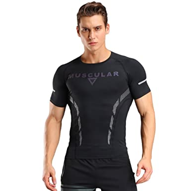 cfd4d720e99 FITIBEST Mens Compression Short Sleeve T-Shirt Sport Running Quick Dry Tees  Tops